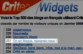 classement onenblogue criteo january 2008