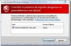 Windows defender Icar Test Result